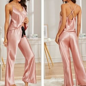 Other - Pink Satin Pajama Set
